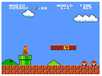 A screenshot from Super Mario Bros