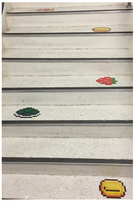 Staircase steps are decorated with rewards and traps