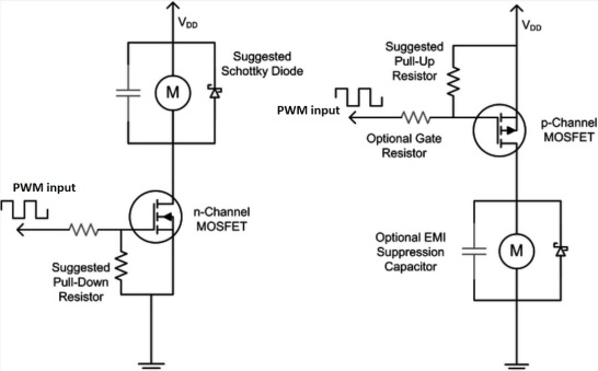 Schematic for a MOSFET driver circuit for using PWM for DC motor control